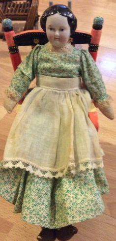 "Antique 12"" Flat Top China Doll Cloth Body"
