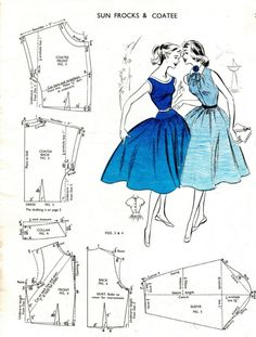 Free Vintage Sun Frocks and Coats Sewing Draft Pattern in 50s Style