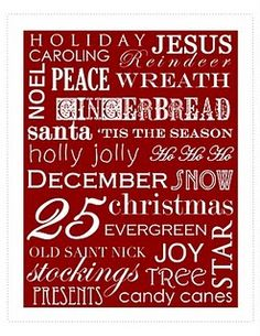 Free Christmas word art...and many more free printables.