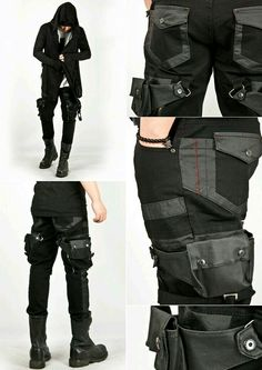 The new Dark Wave Centurty) Attached holster skinny jean pants. Cyberpunk Mode, Cyberpunk Fashion, Apocalyptic Fashion, Post Apocalyptic, Costume Steampunk, Gothic Fashion, Mens Fashion, Gothic Mode, Character Outfits