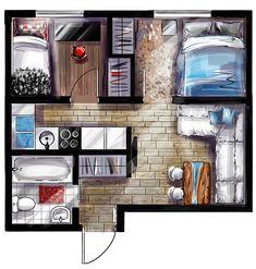 План квартиры. Скетч on Behance Architecture Blueprints, Interior Architecture Drawing, Interior Design Renderings, Retro Interior Design, Interior Design Presentation, Interior Rendering, Concept Architecture, Architecture Design, House Layout Plans