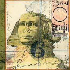 Desert 6 by Nick Bantock. Collage Book, Book Art, Mail Art, Decorated Envelopes, Postage Stamp Art, Envelope Art, Artist Sketchbook, Atc Cards, Paper Art