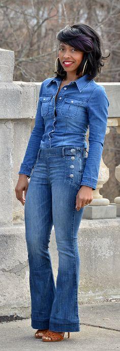 Denim X Denim, Flare Leg Jeans,  Fall Outfit Idea, Winter Outfit Idea