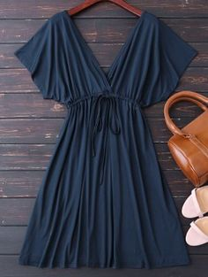 Plunge V Back Drawstring Dress - Purplish Blue M. Excellent must have collection for your wardrobe. Cute Dresses, Dresses For Sale, Casual Dresses, Casual Outfits, Fashion Dresses, Summer Dresses, Emo Outfits, Disney Outfits, Sexy Dresses