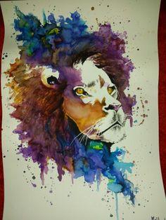 aquarell lion