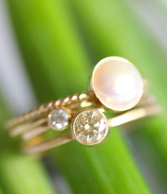 stackable rings - champagne diamond, etc., etsy shop louisagallery
