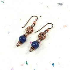 Blue Dumortierite Gemstone Earrings Copper and Marea AB Czech Glass | SolanaKaiDesigns - Jewelry on ArtFire
