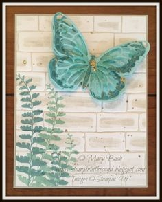 Stampin' in the Sand: Card: Watercolor Wings on a Wall. Stampin Up brick wall. Stampin Up beautiful butterlies die