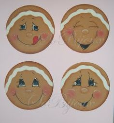 Ginger Christmas Rock, Christmas Themes, Holiday Crafts, Christmas Decorations, Christmas Ornaments, Gingerbread House Parties, Gingerbread Man, Tole Painting, Painting On Wood