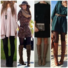 Boots and dresses, a perfect fall combination. Also, I'm loving the boots with tights and that romper! A perfect transitional outfit.