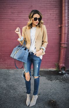 DETAILS: Camel blazer(size 2 - limited sizes in stores - more online)// Grey tee//Distressed jeans(have these under $20 version)// Red lip // Grey booties (also love this pairand just got th...
