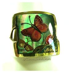 Hand Painted Cameo Butterfly Ring Sterling Silver Original Art Bk... ❤ liked on Polyvore featuring jewelry, sterling silver jewelry, butterfly jewelry, sterling silver jewellery, mother of pearl jewelry and monarch butterfly jewelry