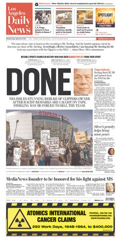 """LA Daily News takes one-word approach on Sterling ban: """"DONE"""""""