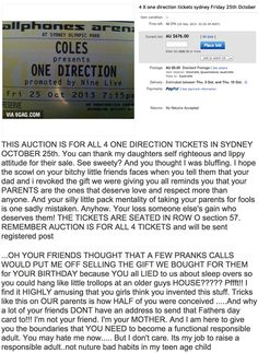Lesson 0: NEVER mess with your parents. (Parent's selling their children's One Direction tickets online)  Fucking AMEN!