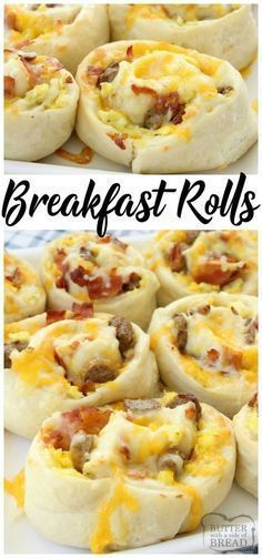 Breakfast Rolls filled with scrambled eggs, bacon, sausage & cheese then rolled . - Breakfast Rolls filled with scrambled eggs, bacon, sausage & cheese then rolled in homemade dough a - Breakfast And Brunch, Breakfast Dishes, Bacon Breakfast, Homemade Breakfast, Breakfast Recipes With Eggs, Breakfast Muffins, Yummy Breakfast Ideas, Breakfast Dessert, Breakfast Pizza Recipe With Crescent Rolls