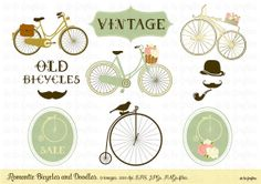 Romantic Bicycles and Doodles. Vector by Delagrafica on Etsy, $5.00