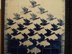 Fresque ceramique sur carreaux , les oiseaux se transforment en poissons