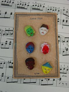 Vintage Realistic Buttons on Card c.1930's