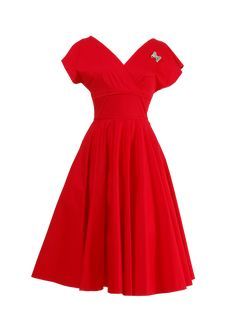 Kathleen Red Dress is retro inspired dress from Retrospec'd. Kathleen Red is a dress with short sleeves and a lovely brooch.