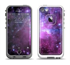 The Purple Space Neon Explosion Apple iPhone 5-5s LifeProof Fre Case Skin Set