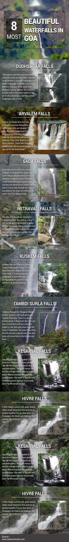 Check out the Latest #Infogarphic about most beautiful #Waterfalls in #Goa. Created by Sai Tour & Travels. Visit: http://goo.gl/ZkFgvz #Tour #Travel #Tourism #India #Chandigarh #Mohali #Panchkula #Taxiservice #Touroperator