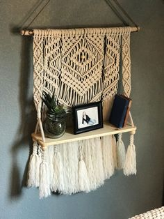 Macrame wall hanging,shelf,macrame shelf,floating shelf,boho decor,bohemian wall art,minimalist,macrame plant hanger,rope shelf,shelves by HolyChicBoutiqueCo on Etsy