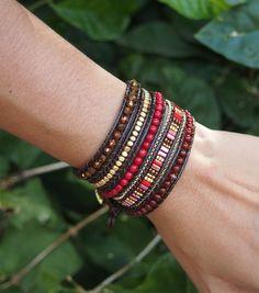 Red mix Wrap bracelet 5 times wrap Boho bracelet Bohemian