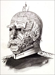 """Bismarck Unmasked"" (1879)  Caricaturists could be gentle or ruthless in depicting the weapons used by Bismarck to combat the socialist ""threat."" This woodcut, which is frequently reproduced under the title ""Bismarck Unmasked"" [""Bismarck ohne Maske""], appeared in the socialist journal Der wahre Jacob in 1879."