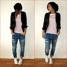 H&M Jacket, Zara Jeans, Converse Shoes