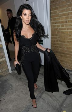Kourtney Kardashian black jumper with lace accents in London