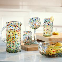 Handblown Rainbow Confetti Recycled Glassware Collection | VivaTerra