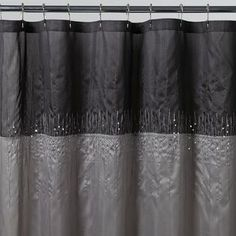 KMart Disco Silver Fabric Shower Curtain Would Look Nice With Black Accessories