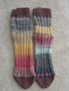 Two at a time tube knitted tube socks on two needles   Heidilady's patterns at Insaknitty