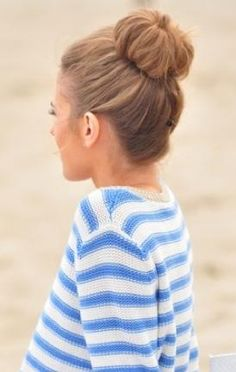 Sock Bun Up-Do- its crazy how I used to hate this hair style but I became a mom and now it's trendy AND practical with the hustle and bustle of mommyhood.