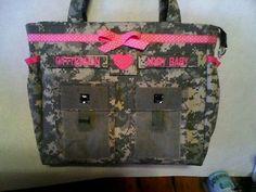 Handmade ACU camo army diaper bag custom tags your choice of colors #Handmade