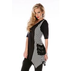 Aster by Firmiana Women's Black and White Spliced Top   Overstock.com Shopping - Top Rated Sleeveless Shirts