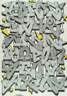 Graffiti Alphabet Styles, Graffiti Lettering Alphabet, Tattoo Lettering Fonts, Graffiti Font, Graffiti Designs, Graffiti Drawing, Graffiti Styles, Graffiti Wall, Calligraphy Alphabet