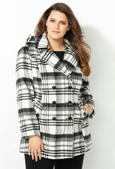 Oversized Plaid Double Breasted Peacoat with Hood-Plus Size Jackets-Avenue Glen Plaid, Full Figured Women, Big Girl Fashion, Gowns Of Elegance, Quilted Jacket, Plus Size Women, Double Breasted, Plus Size Outfits, Plus Size Fashion