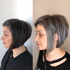 With the natural movement gaining more momentum, many clients are deciding to embrace grey hair. Here are ways you can help them transition to their natural. Grey Brown Hair, Grey Hair Over 50, Hair Cuts For Over 50, Short Grey Hair, Grey Hair Transformation, Natural Hair Styles, Short Hair Styles, Gray Hair Highlights, Gray Hair Growing Out