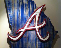 Wooden State of Georgia with Atlanta Braves logo