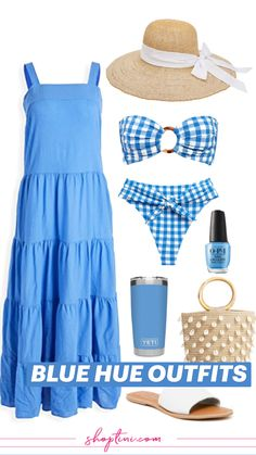 Beach Vacation Outfits, Vacation Dresses, Vacation Wear, Vacation Style, Blue Summer Dresses, Beach Dresses, Maxi Dresses, Classy Yet Trendy, Tankini Swimsuits For Women