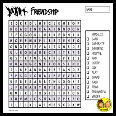 """FREE! Friendship Word Search: Use this friendship word search as part of a friendship unit or for an extra activity to have on hand. Have students discuss why the words are """"friendship words"""" and how they are important in a friendship. Five differentiated word searches provided to reach many learners. For your convenience an answer sheet is included."""