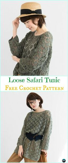 Crochet Loose Safari Tunic Free Pattern - Crochet Women Sweater Pullover Top Free Patterns