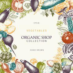 Healthy Food frame. Vector vegetables illustration. Sketched menu design. Eco food template with hand drawn vegetables sketch. Vintage background