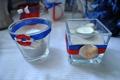 decor wedding naval shells ślub marynarski wesele white red blue