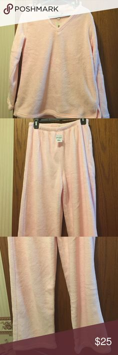 "NWT Charter Club Heavy Fleece Pajamas Super soft, super warm fleece. Light pink. Top is V neck pullover. 19"" from armpit to armpit. 16"" long from armpit. Pants have elastic waist. Waist 29"". Inseam 30"". 100% polyester. Not from a smoke free house. Charter Club Intimates & Sleepwear Pajamas"