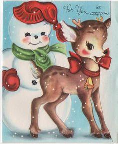 Snowman Snowmen and Deer Reindeer Fawn Die Cut VTG Greeting Card Christmas Pink Christmas Tree, Retro Christmas, Vintage Christmas Cards, Christmas Snowman, Christmas Greetings, Christmas Traditions, Christmas Crafts, Hallmark Christmas, Christmas Kitchen
