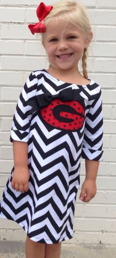 89e221be28b65 Sweet sprouts girls georgia bulldog football chevron fall tshirt dress