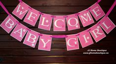 Welcome Baby Girl Baby Shower Banner by JJHomeBoutique on Etsy Welcome Baby Girls, Banner, Baby Shower, Boutique, Trending Outfits, Unique Jewelry, Handmade Gifts, Etsy, Vintage