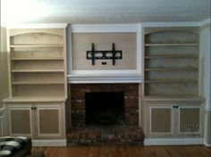 Unbelievable Tips and Tricks: Corner Fireplace Barnwood marble fireplace luxury.Concrete Fireplace Over Brick fireplace built ins bench.Wood Fireplace How To Build. Bookshelves Around Fireplace, Built In Around Fireplace, Wood Fireplace Surrounds, Fireplace Built Ins, Home Fireplace, Bookshelves Built In, Brick Fireplace, Living Room With Fireplace, Fireplace Design